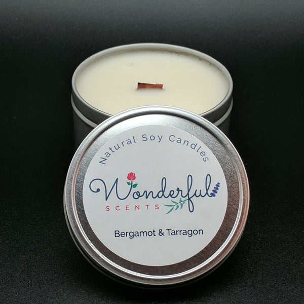 8 oz Soy Wax Travel Tin Bergamot and Tarragon Candles With Wood Wick