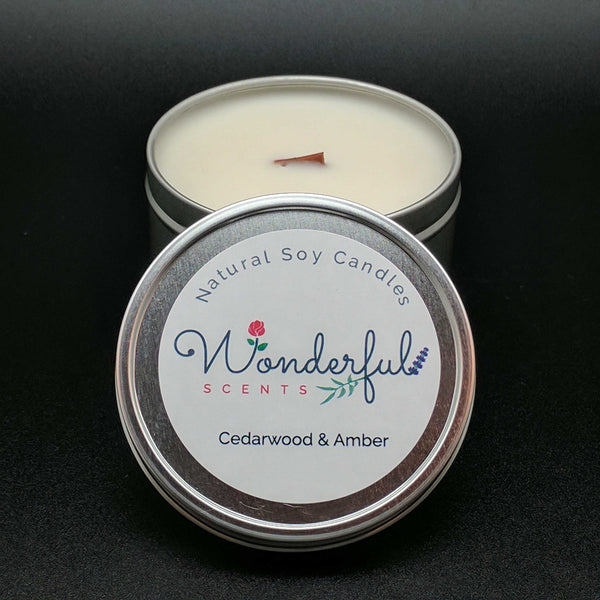 8 oz Soy Wax Travel Tin Cedarwwod and Amber Candles With Wood Wick
