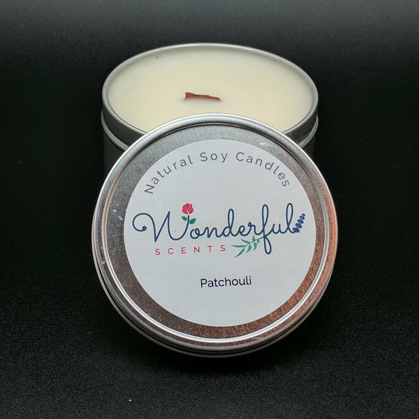 8 oz Soy Wax Travel Tin Patchouli Candles With Wood Wick