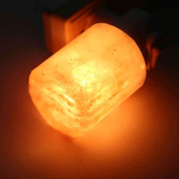 Tilting Himalayan Salt Night Light With Amber Glow