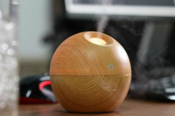 Light Wood Grained USB 130 ml Ultrasonic Essential Oil Diffuser with LED