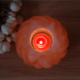 Spherical Flower Himalayan Salt Lamp Candle Holder Lit