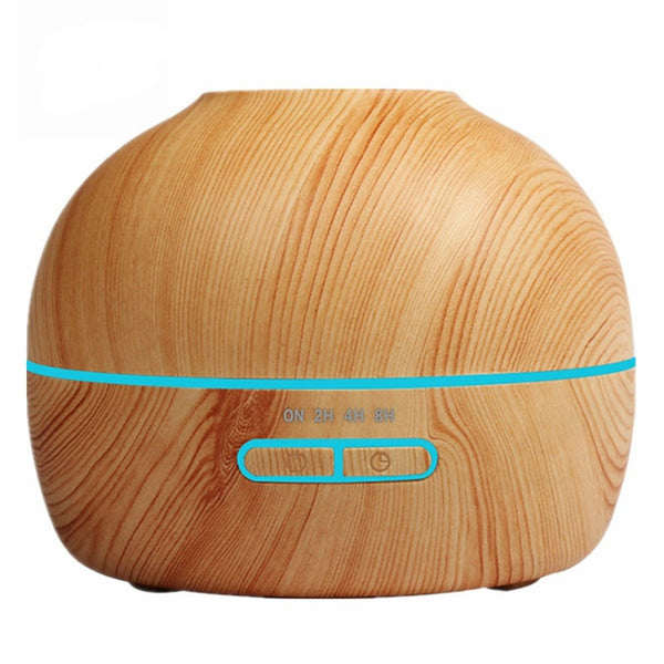 Light Wood Grained 300ml Wood Grained Essential Oil Diffuser with 7 Color LED Lights