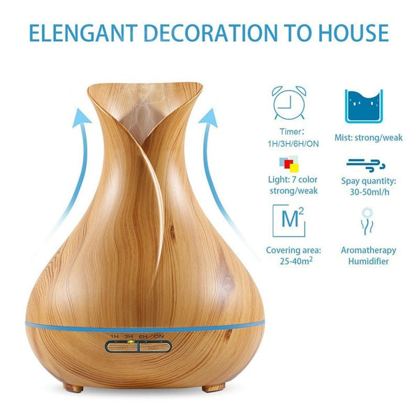 400ml Light Wood Grain Vase Style Essential Oil Diffuser Specifications