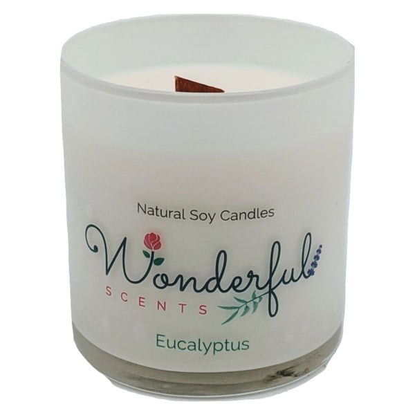 Wonderful Scents 11 oz Tumbler Candle Wood Wick Eucalyptus