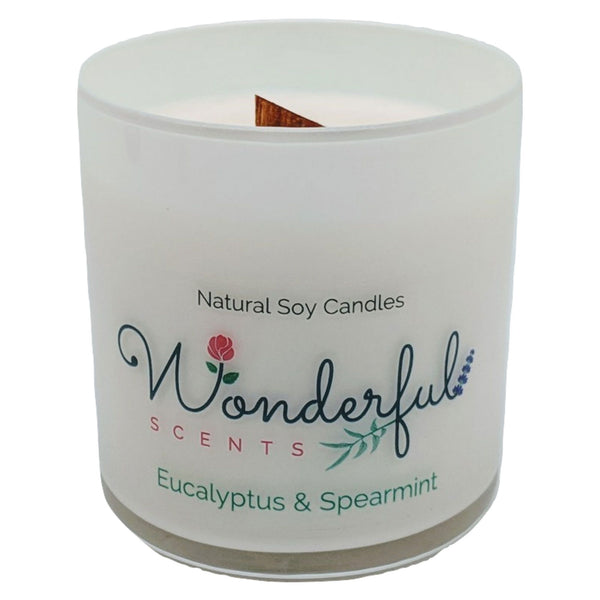 Wonderful Scents 11 oz Tumbler Candle Wood Wick Eucalyptus and Spearmint