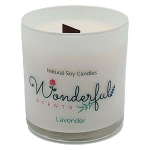 Wonderful Scents 11 oz Tumbler Candle Wood Wick Lavender