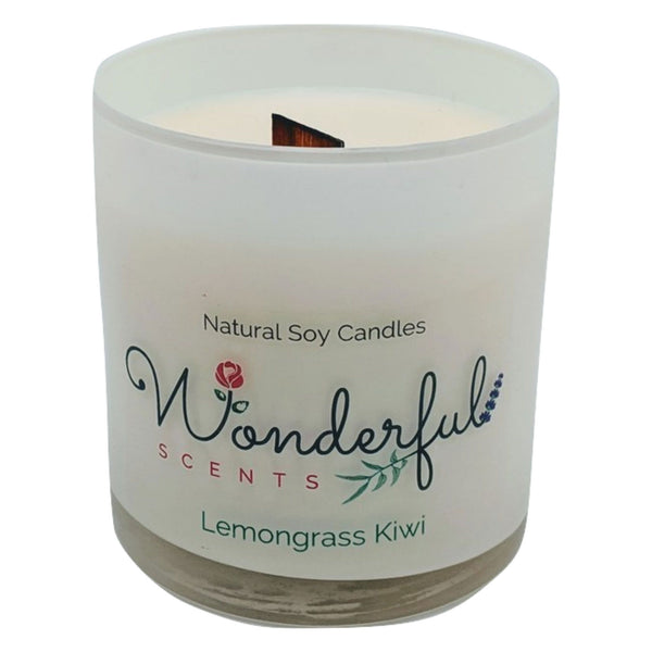 Wonderful Scents 11 oz Tumbler Candle Wood Wick Lemongrass Kiwi