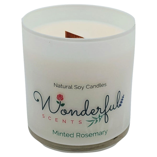 Wonderful Scents 11 oz Tumbler Candle Wood Wick Minted Rosemary