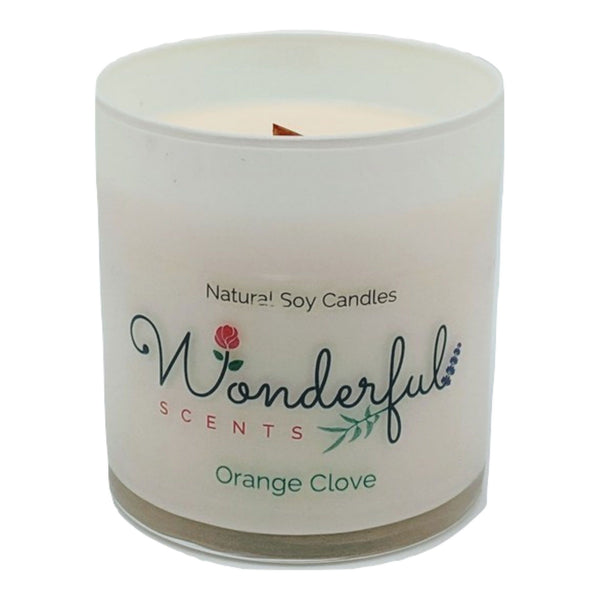 Wonderful Scents 11 oz Tumbler Candle Wood Wick Orange Clove