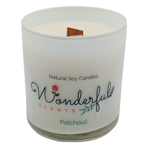 Wonderful Scents 11 oz Tumbler Candle Wood Wick Patchouli