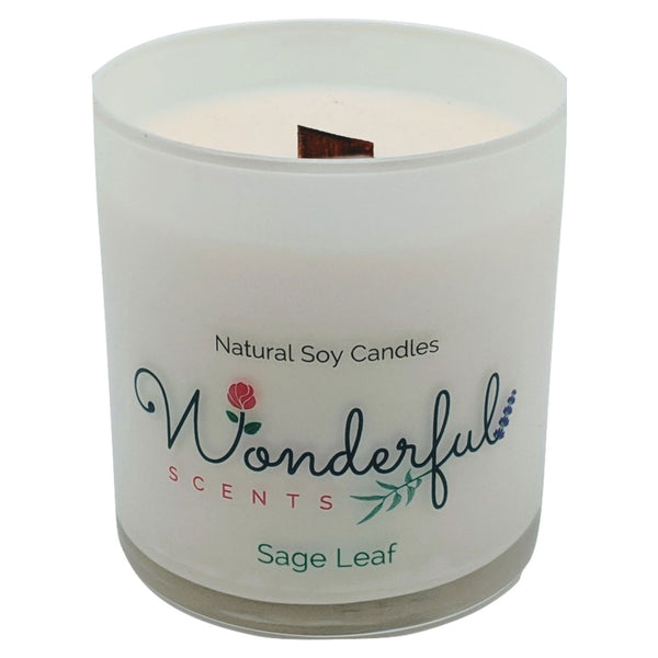 Wonderful Scents 11 oz Tumbler Candle Wood Wick Sage Leaf