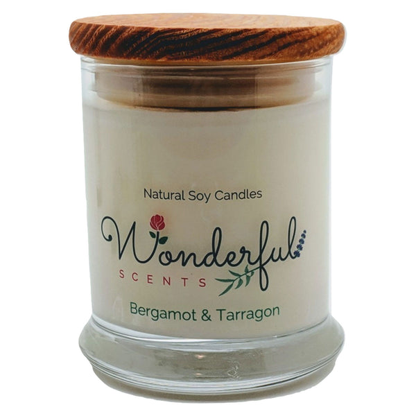 Wonderful Scents 12 oz Wood Wick Scented Candle Bergamot and Tarragon