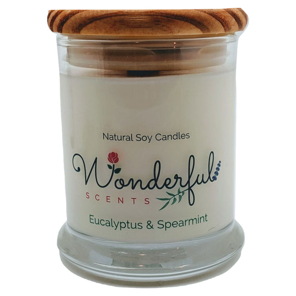 Wonderful Scents 12 oz Wood Wick Scented Candle Eucalyptus and Spearmint