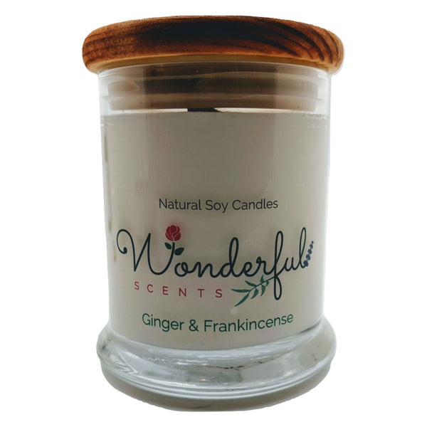 Wonderful Scents 12 oz Wood Wick Scented Candle Ginger and Frankincense