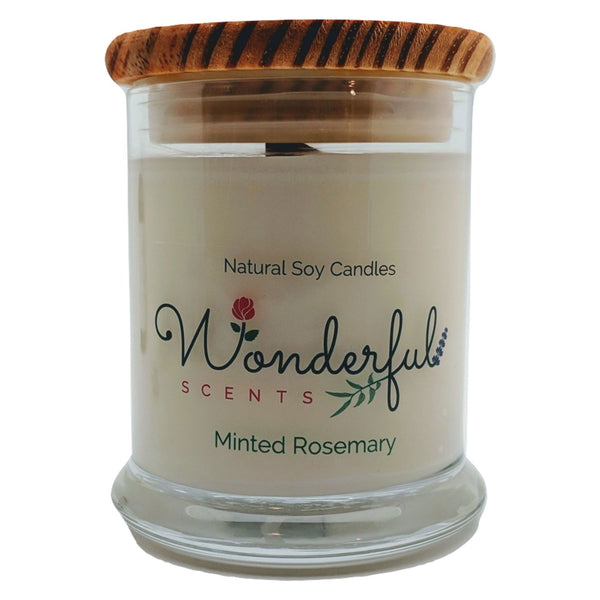 Wonderful Scents 12 oz Wood Wick Scented Candle Minted Rosemary