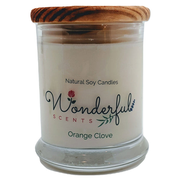 Wonderful Scents 12 oz Wood Wick Scented Candle Orange Clove