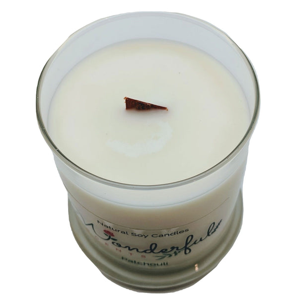 Wonderful Scents 12 oz Wood Wick Scented Candle Patchouli Wick Showing
