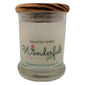 Wonderful Scents 12 oz Wood Wick Scented Candle Peppermint Essential Oil