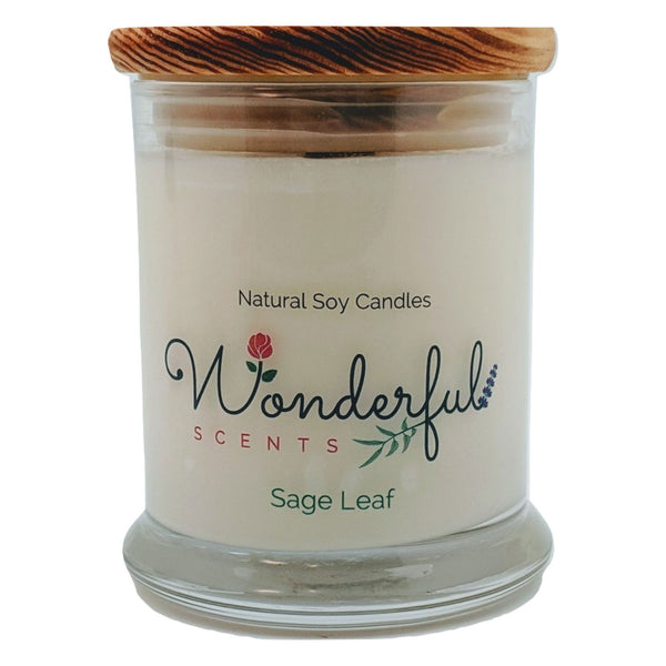 Wonderful Scents 12 oz Wood Wick Scented Candle Sage Leaf
