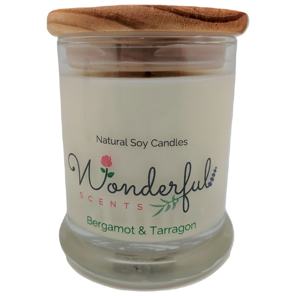Wonderful Scents 12oz Soy Bergamot and Tarragon Candle with Cotton Wick