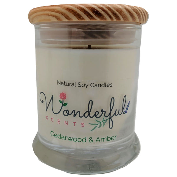 Wonderful Scents 12oz Soy Cedarwood and Amber Candle with Cotton Wick