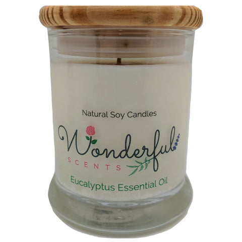 Wonderful Scents 12oz Soy Eucalyptus Essential Oil Candle with Cotton Wick