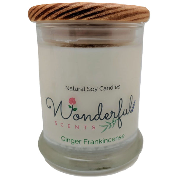 Wonderful Scents 12oz Soy Ginger Frankincense Candle with Cotton Wick