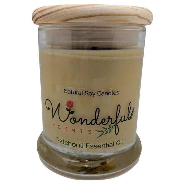 Wonderful Scents 12oz Soy Patchouli Essential Oil Candle with Cotton Wick