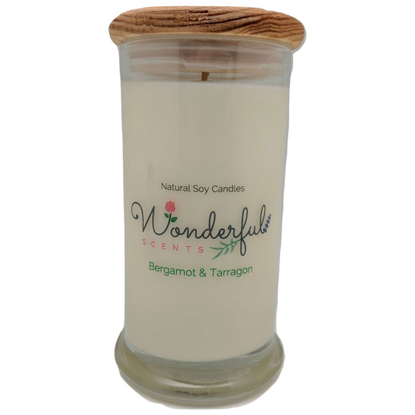 Wonderful Scents 21oz  Bergamot and Tarragon Candle with Cotton Wick