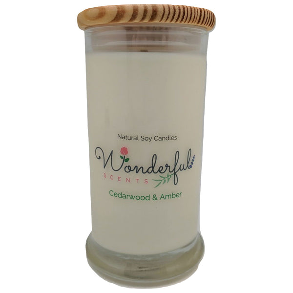 Wonderful Scents 21oz  Cedarwood and Amber Candle with Cotton Wick