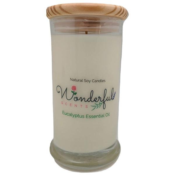 Wonderful Scents 21oz  Eucalyptus Essential Oil Candle with Cotton Wick
