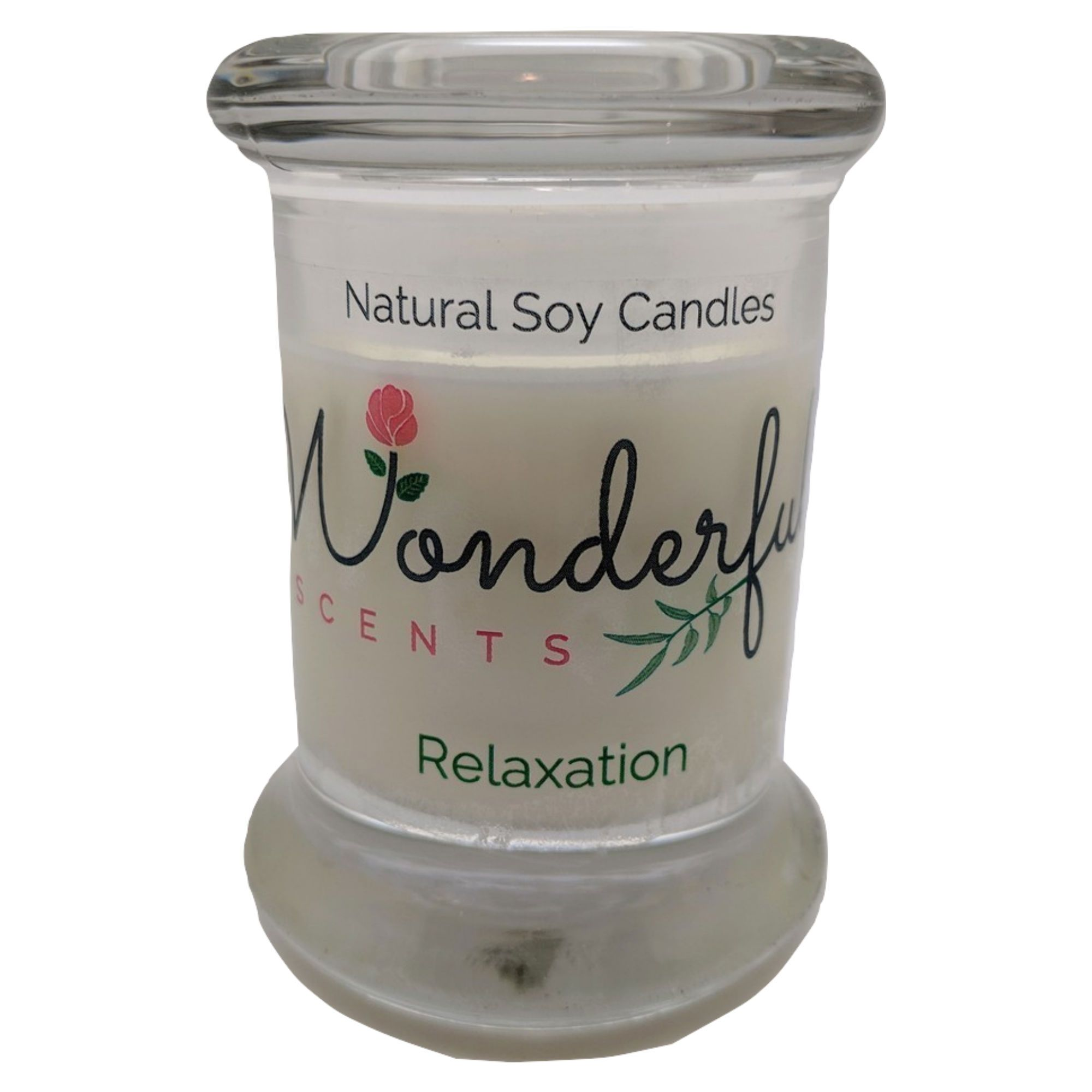 Wonderful Scents 2.75oz Relaxation Status Jar Candle Cotton Wick Glass Lid