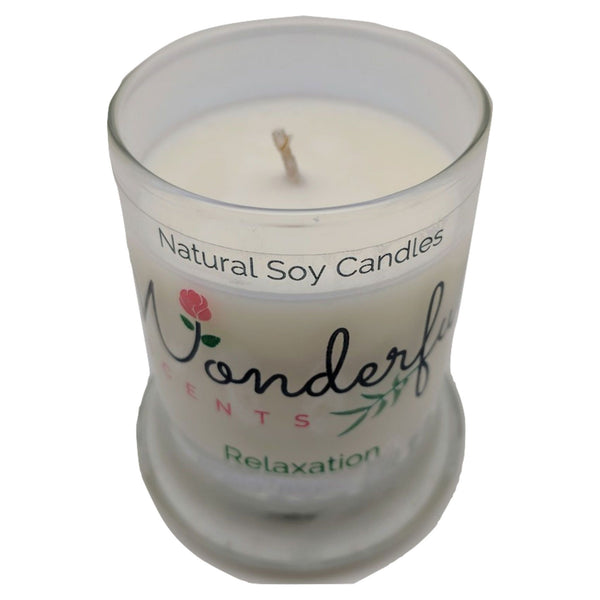 Wonderful Scents 2.75oz Relaxation Status Jar Candle Cotton Wick Glass Lid Showing