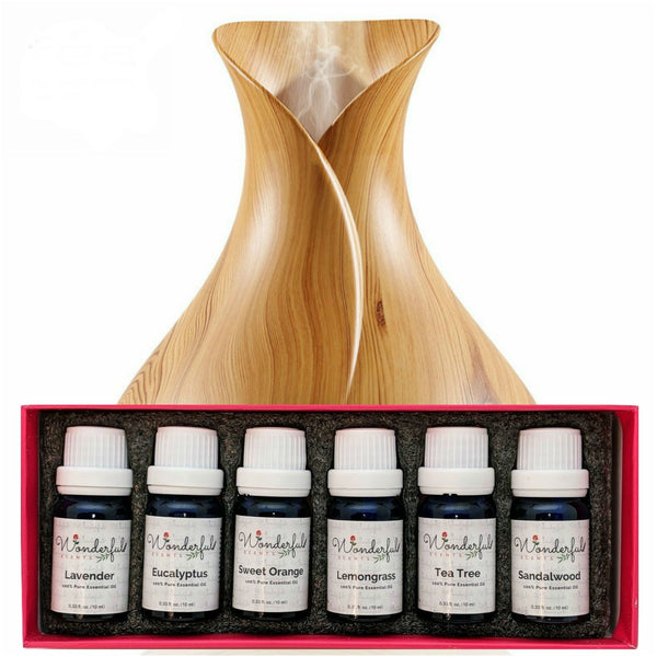 Wonderful Scents 400 ml Light Wood Diffuser and White Label Essential Oil Box Set Gift