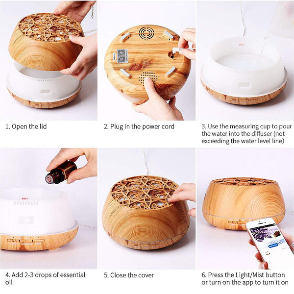 Wonderful Scents 400ml Essential Oil WiFi Diffuser How To Use