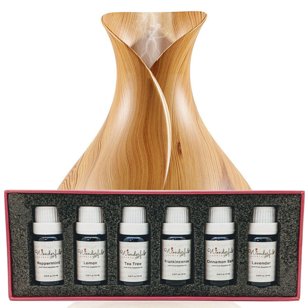 Wonderful Scents 400ml Light Wood Essential Oil Vase Diffuser Black Label Oil Gift Set