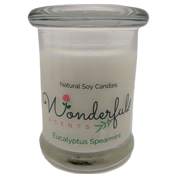 Wonderful Scents 8oz Eucalyptus Spearmint Status Jar Candle Cotton Wick Glass Lid