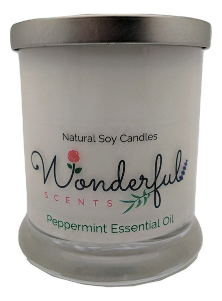 Wonderful Scents Opaque Status Jar Soy Candle Minted Peppermint Essential Oil Scented