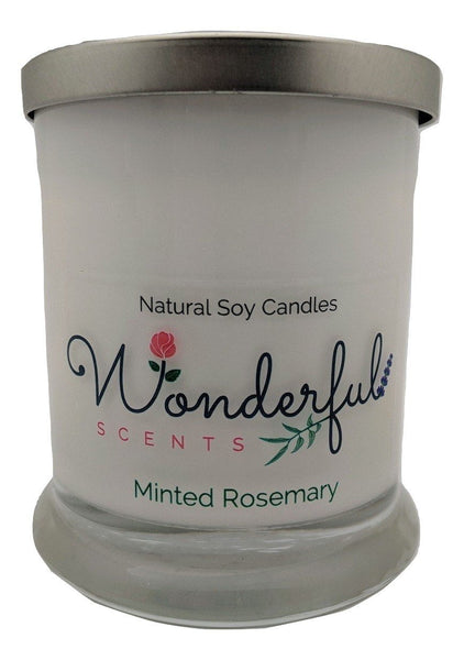 Wonderful Scents Opaque Status Jar Soy Candle Minted Rosemary Scented