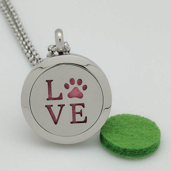 Wonderful Scents Paw Love Pendant Necklace For Essential Oil Diffusing