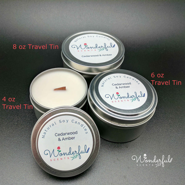 Wonderful Scents Soy Wax Travel Tin Candles With Wood Wick Collection Labeled