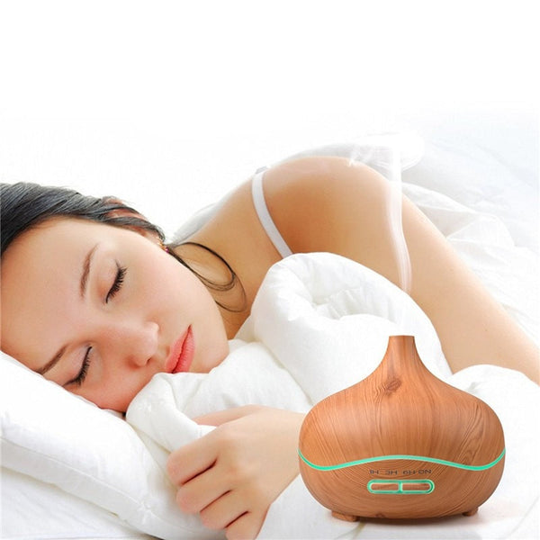 Sleeping with the 300 ml Light Wood Grain Ultrasonic Aroma Essential Oil Diffuser