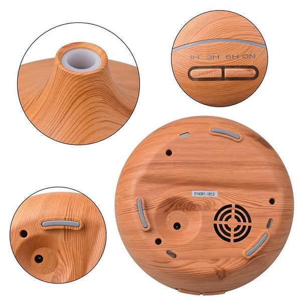 Views of the 300 ml Light Wood Grain Ultrasonic Aroma Essential Oil Diffuser