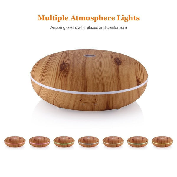 Led Colors 350 ml Essential Oil Diffuser With Cool Mist & Color LED Light Wood
