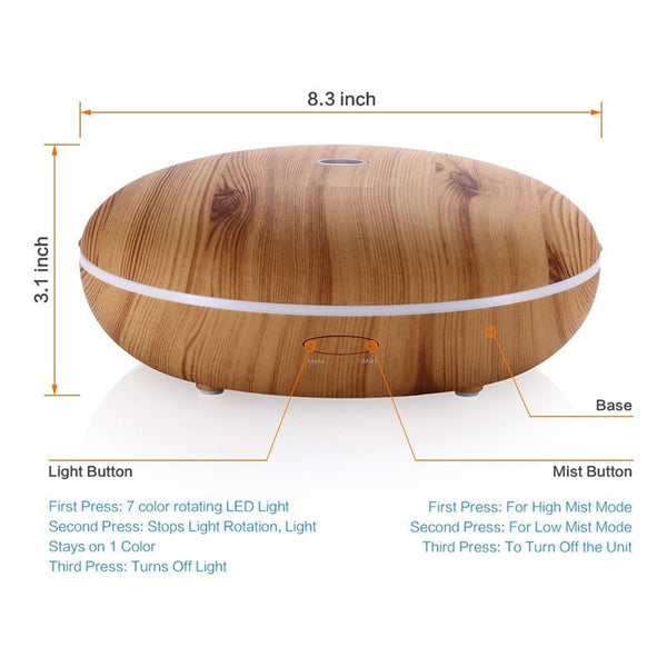 Size of 350 ml Essential Oil Diffuser With Cool Mist & Color LED Light Wood
