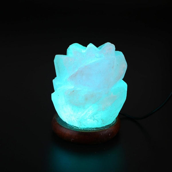 Blue Glowing Rose Carved Himalayan Salt LED Lamp