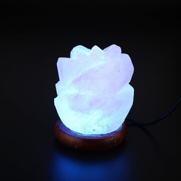 White Glowing Rose Carved Himalayan Salt LED Lamp