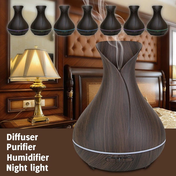 Colors of 400ml Dark Wood Grain Vase Style Essential Oil Diffuser