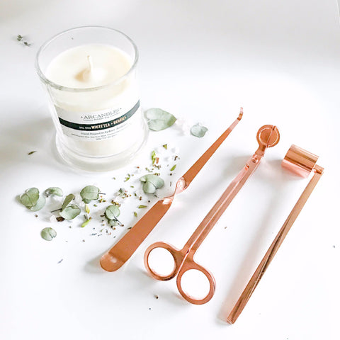 Rose Gold Copper Candle Trimmer Snuffer Dipper Kit